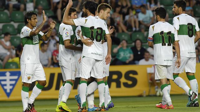 Los jugadores del Elche celebran un gol de esta pretemporada contra el Villarreal