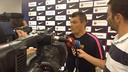 Pascual con los medios informativos. / FOTO:FCB