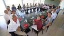 Directors and coaching staff, at lunch at the Ciutat Esportiva / PHOTO: MIGUEL RUIZ - FCB