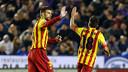 """Gerard Piqué and Jordi Alba wearing the """"senyera"""" kit. PHOTO: MIGUEL RUIZ-FCB."""