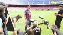 Luis Suárez durant la gravació de l'espot 'Tot comença de nou' / FOTO: FCB