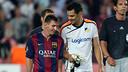 Messi y Urko Pardo, tras el partido / FOTO: MIGUEL RUIZ-FCB