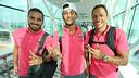 Douglas, Neymar and Adriano at the airport. PHOTO: MIGUEL RUIZ-FCB.