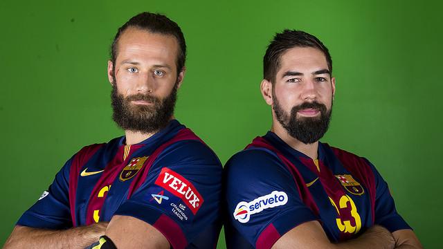 Noddesbo y Karabatic en la sesión de fotos. / FOTO:Víctor Salgado-FCB