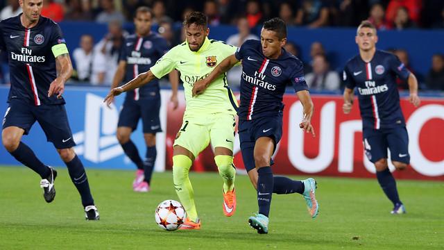 Neymar, durante o duelo em Paris