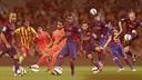 Mascherano, Montoya, Bartra, Douglas, Alves, Jordi Alba, Piqué, Adriano and Mathieu / FCB