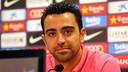 Xavi, pendant une conférence de presse / PHOTO: ARXIU FCB
