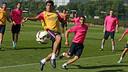 Luis Suárez en una acción del entrenamiento de esta mañana / FOTO: MIGUEL RUIZ - FCB