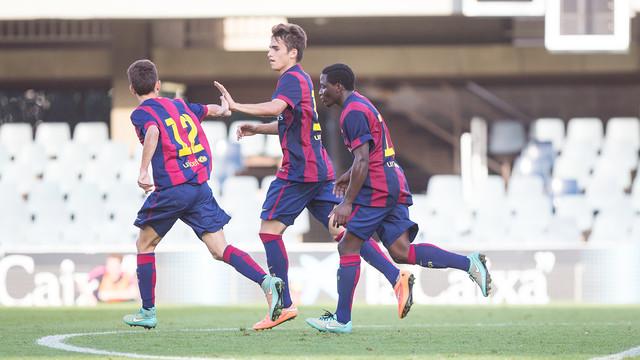 Carbonell celebra su gol contra el Ajax / FOTO: GERMÁN PARGA - FCB