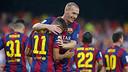 Mathieu, avec Neymar après un but / Photo FCB