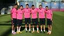 Suárez, Messi, Munir, Neymar, Sandro and Pedro in training on Thursday. PHOTO: MIGUEL RUIZ-FCB.