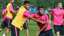 Neymar et Rafinha, vendredi. PHOTO: MIGUEL RUIZ-FCB.