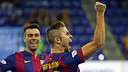 Rafa Usín celebra el gol marcat al Marfil Santa Coloma / FOTO: MIGUEL RUIZ - FCB