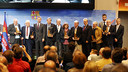 President Bartomeu and president Alfonseda, directors Elias and Vilanova, with the former players being honoured / PHOTO: MIGUEL RUIZ - FCB