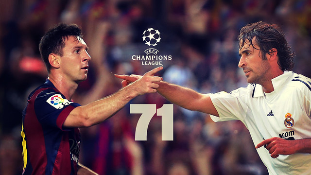 Design foto dari Messi dan Raul Gonsalez dengan angka 71 di tengah-tengah