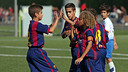 The U12 A side celebrating a goal / PHOTO: ARCHIVE - FCB