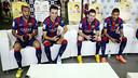 Neymar, Messi, Munir, and Alves playing FIFA 15