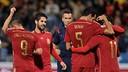 Les joueurs après un but / PHOTO: UEFA.COM