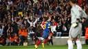 Iniesta celebrates against Sevilla in 2008-09 / PHOTO: FCB ARCHIVE