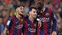 Neymar Jr, Messi et Piqué, au Camp Nou / PHOTO : ARXIU FCB