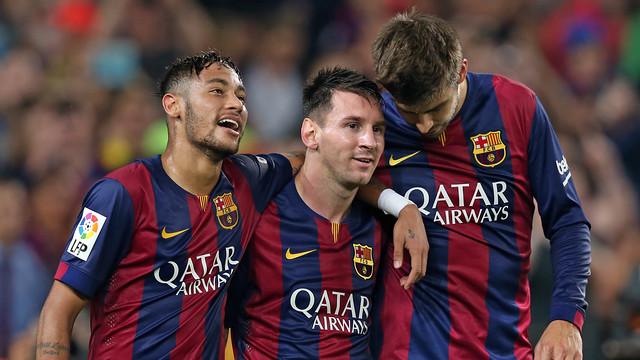 Neymar Jr, Messi i Piqué, al Camp Nou / FOTO: ARXIU FCB
