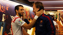 Pareja y Rakitic, en el túnel de vestuarios tras el partido / FOTO: MIGUEL RUIZ - FCB