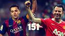 Xavi y Giggs, ambos con 151 partidos en la Copa de Europa / FOTO: Fotomontaje FCB