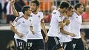 Parejo celebrates his goal against Elche at the Mestalla / PHOTO: VALENCIACF.COM