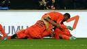 The winner at Mestalla sparked wild celebrations / PHOTO: MIGUEL RUIZ-FCB