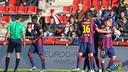 Los jugadores del Barça B celebran el gol de Halilovic / FOTO: LFP