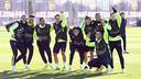 L'equip, a l'entrenament d'aquest matí / FOTO: MIGUEL RUIZ - FCB
