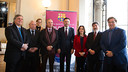 President Bartomeu  with the six ambassadors and Rodríguez Coso, the Group's president, on the right / PHOTO: GERMAN PARGA - FCB