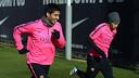 Luis Suárez i Mascherano, a l'entrenament d'aquest dijous / FOTO: MIGUEL RUIZ - FCB