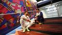 Messi i Lavezzi, al túnel de vestidors del Camp Nou / FOTO: MIGUEL RUIZ - FCB