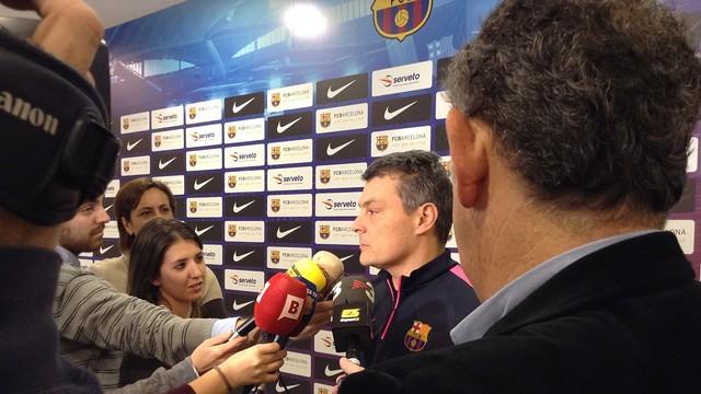Xavi Pascual en rueda de prensa en el Palau Blaugrana /FOTO:FCB