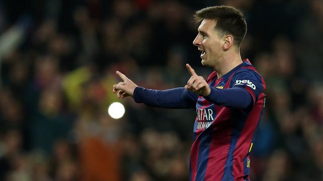 Messi celebra un dels seus dos gols / FOTO: MIGUEL RUIZ-FCB