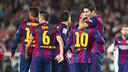 Xavi, Luis Suárez y Messi, en el partido contra el Córdoba / FOTO: VÍCTOR SALGADO - FCB