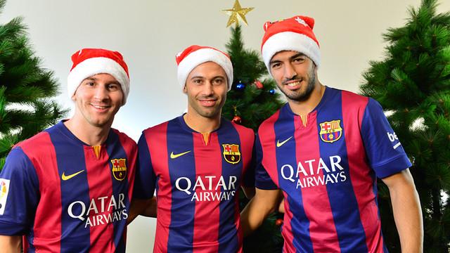 """Messi, Mascherano and Suárez wish you all a """"Merry Christmas!"""" / FCB"""