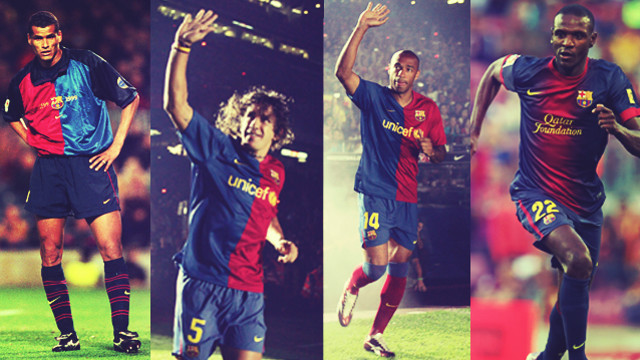 Rivaldo, Carles Puyol, Thierry Henry and Éric Abidal.