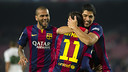 Neymar and Suárez celebrate in Barça's 5-0 win over Elche on Thursday night at Camp Nou. PHOTO: VÍCTOR SALGADO-FCB.