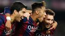 Suarez, Neymar et Messi contre l'Atletico. / PHOTO: MIGUEL RUIZ-FCB.