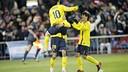 Leo Messi celebrating one of his three goals in the Calderón / PHOTO: MIGUEL RUIZ - FCB