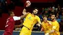 Entrerríos, el azulgrana es uno de los centrales de España / FOTO: Qatar Handball 2015
