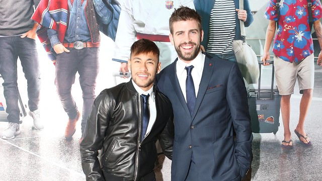 Neymar and Gerard Piqué in Doha at the presentation of the new advert. PHOTO: FCB
