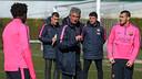 Jordi Vinyals, donant instruccions en el seu primer entrenament. FOTO: FCB-MIGUEL RUIZ