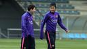 Messi y Neymar, en el entrenamiento de este sábado / MIGUEL RUIZ-FCB