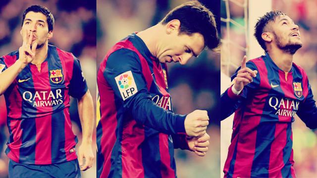 Montagem com Suárez, Messi e Neymar Jr celebrando gols.