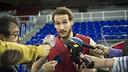 Huertas with the media / V. SALGADO - FCB