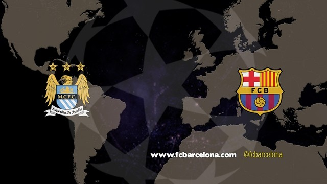 Manchester City and FC Barcelona will battle in the UEFA Champions League last 16. / FCB Photomontage