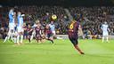 Xavi taking a free kick against Málaga last season - VICTOR SALGADO - FCB